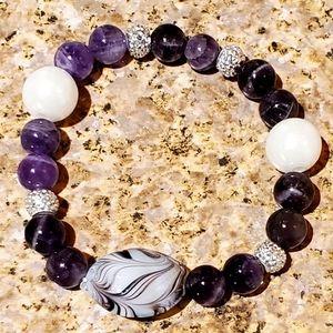 2/$30 Purple Beaded Charm Bracelet